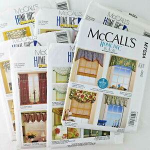 McCall's Home Dec Pattern NEW UNCUT -Curtains Panels Valance Shade Swag- Lot 7