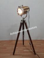 Antique Marine Nautical Spotlight Decorative Floor Lamp Wooden Tripod
