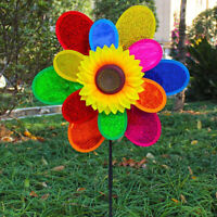 Double Layer Colorful Sunflower Windmill Kids DIY Outdoor Toys Garden Yard  D R#