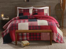 SUNSET Full / Queen QUILT SET : RED BUFFALO CHECK PLAID LODGE CABIN COVERLET