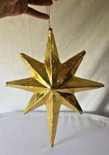 "Jumbo Paper Mache Metallic Gold Christmas Star Ornament 14"" 5 Available"