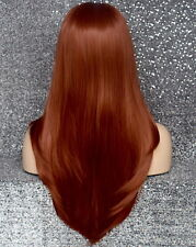Long Straight Human Hair Blend Mono Top Full Lace Front Wig Copper Red 130 WBDL