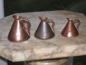 3 old miniature copper haystack measure jugs