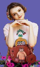 Retro Cartoon Cat Design Handbag With matching Purse Faux Leather Everyday