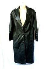 Vintage Yearbook Genuine Leather Full Length Coat Jacket Black See Measurements