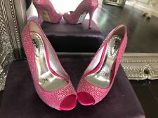 hot pink crystal peep toe shoes size 39 - prom evening shoes RRP £99