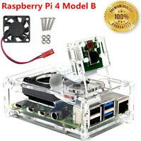 Raspberry Pi 4 Modell B Gehäuse aus transparentem Acryl mit Lüfter Neu