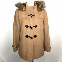 St Johns Bay Womens Parka Jacket Coat Detachable Hood Faux Fur Zip Up Size L