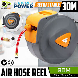 30M Retractable Air Hose Reel Commercial Auto Rewind Wall Mounted Storage Garage