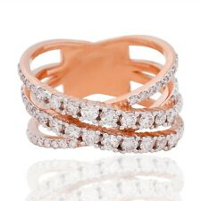 Natural 1.20 Ct. Diamond Criss Cross Band Ring 18k Rose Gold Handmade Jewelry