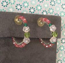 New Floral Beaded Hoop Earring Pink beads & flowers all around Hoop Earrings
