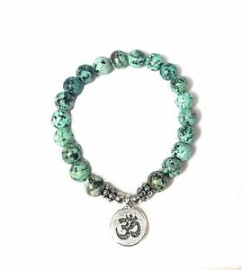 African Turquoise and Om Charm Bracelet