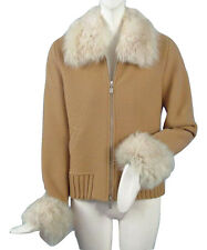 NEW! $730 Geiger of Austria Boiled Wool Jacket (Coat) US 10 40 Tan with Fur Trim