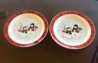 "Set of 2 Royal Seasons RN3 Stoneware Snowman 10 1/4"" Dinner Plates, Great Cond."