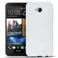 Handy Hülle HTC One M7 Silikon Case Ultra Slim Cover Schutz Hülle Tasche Weiss