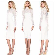 Womens Long Sleeve Bandage Bodycon Lace Dress Formal Wedding Evening Dress A025