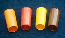 Vintage Tupperwear Tumblers Set of 4 Browns & Yellows Camper Van Good Condition