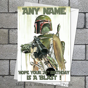 Boba Fett birthday card: Star Wars art. 5x7 inches. Personalised plus envelope.