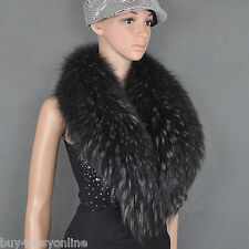 "REAL Black With Tip Big Raccoon Fur Collar Scarf Wrap Winter Shawl 100X19cm/39"""
