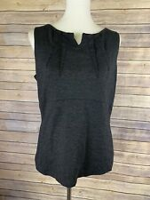 CAbi Size 12 #649 Black Ponte Perfect Shell Stretch Sleeveless Top Career Peplum