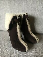 Dsquared Shearling Sheepskin Brown Suede Boots Size 37