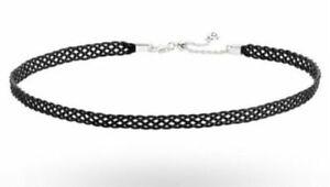 "New Pandora Black Woven Choker Silver Necklace s925 ALE Adjustable 14"""