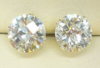 925 STERLING SILVER STUD EARRINGS 8mm ROUND CREATED CLEAR BRIOLETTE STONE