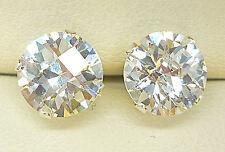 Plata Esterlina 925 Aretes 8mm Ronda creado claro diamante mirada Bolas