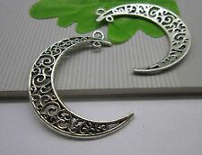 wholesale 10pcs Retro Style  Tibet silver alloy moon Charm pendant 40x33mm