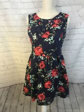 Ixia Modcloth Navy Floral Fit N Flare Pinup Style Dress Made in USA Size Large