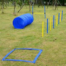 Pet Agility Training Set Dog Kit Obstacle Course Backyard Equipment Jumps Tunnel