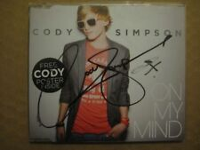 CODY SIMPSON On My Mind AUSSIE 1 Track CD SINGLE 2011 - SIGNED COPY with POSTER