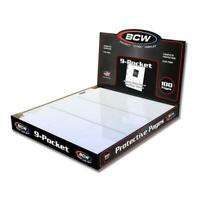 100 BCW 9-POCKET TRADING / BASEBALL CARD PAGES / COUPON BINDER SHEETS