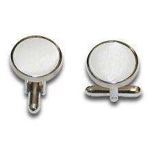 DQT Brass Fabric Inlay Cuff Links Plain Solid White Mens Cufflinks