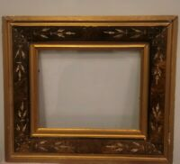 "Antique Walnut East Lake Picture Frame Gold Carved 10X8"" Full Detail In Pictures"