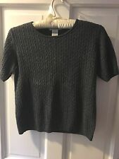 Sutton Studio ~ Silk & Cashmere ~ Small ~ Gray ~ Sweater ~ short sleeves ~ Soft