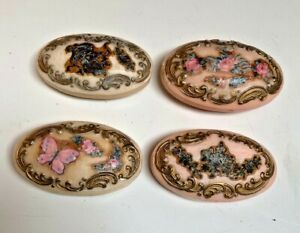 """4 Antique """"SWEET HEART""""~FANCY OVAL Victorian EMBOSSED GILDED GUEST SOAPS~Rare"""