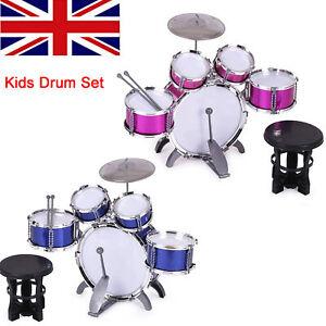 Junior Drum Kit for Kids - 5 Piece Children Drum Set with Stool Drum Sticks C6E7