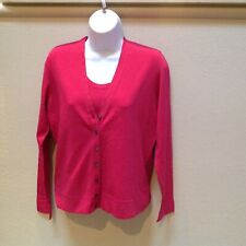 Nwt Ann Taylor Twinset Reddish Pink Knit Tank Shell And Cardigan Size M $79/$49