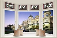 Huge 3D Bay Window Maybach Hotel View Wall Stickers Decal Wallpaper Mural 800