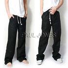 Verano Hombre Holgado Pantalones de lino Informal elástico cintura pantalones