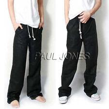Summer Men's Loose Linen Trousers Casual  Drawstring Waist Pants Slacks Dancer