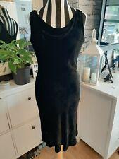 Laura Ashley Vintage Vestido De Terciopelo Negro Viscosa/Seda Talla 16