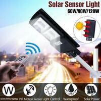 60/90/120W LED Solar Street Light PIR Motion Sensor Outdoor Wall Lamp +Remote US
