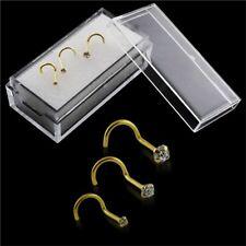 Nose Screws 9K Carat Genuine Gold Set Of 3 Yellow Gold Nose Piercing 20g