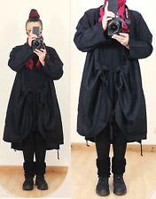 NEW Long Black WRAP LINEN TUNIC JACKET Lagenlook UK Plus Size 14 16 18 20 Gothic