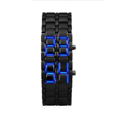 Fashion Men's Boy Alloy Quartz Lava Style Iron Samurai Black Bracelet LED Watch