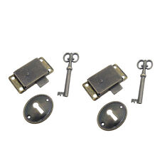 Classical Bronze Cabinet Curio Door Dresser Key &Lock 2 Sets Antique Locks BMG