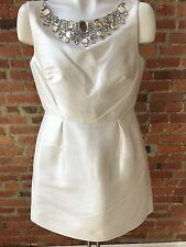 """Kate Spade Ivory Dress Rhinestone Neckline Mini """"Look for the silver lining"""" 8"""