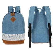 New Fashion Floral Lace+Denim Canvas Women Ladies Girl Bag Backpack School bag